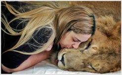 Expression of love between human and animal