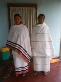 Naga women with traditional shawls